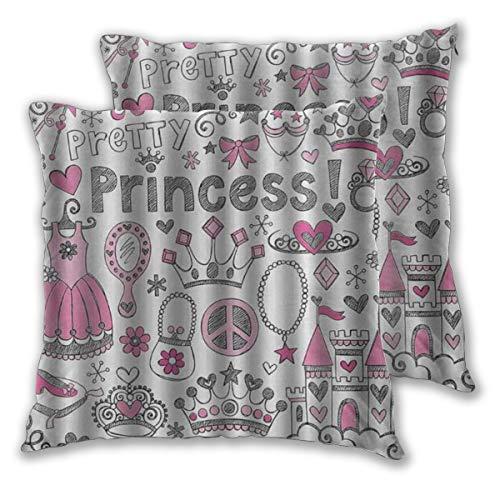 DECISAIYA Fundas de Cojines,Princesa Rústico Cuento de hadas Princesa Tiara Corona Cuaderno Doodle Diseño Boceto Ilustración,fundas de almohada decorativas cuadradas para sofá dormitorio hogar 50x50cm