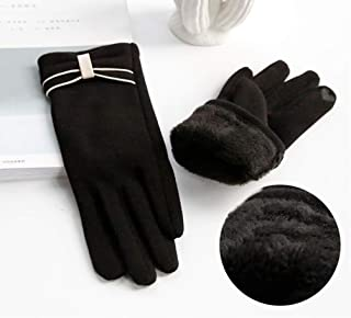 JCCOZ Touch Screen Gloves Female Winter Cute Riding Driving Points Plus Velvet Five Fingers to Keep Warm Ladies Students Windproof Touch Screen Gloves (Color : C)