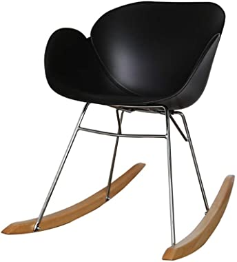 ch-AIR Solid Wood Rocking Chair Smooth Rocking Motion, Stainless Steel Bracket Relax Lounge Chair,Suitable for Terrace Living