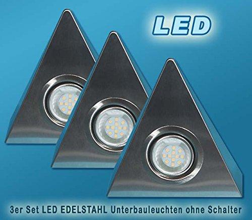 3er Set LED Edelstahl Dreieckleuchten 2,5W HIGH LED WARMWEISS OHNE Schalter von JAC Beleuchtung24®