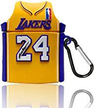 Yellow, Purple, White, Blue, Basketball Shirt, Compatible with Airpods 1/2 Shell Silicone, Cute Cartoon 3D, Silicone air Bag,Stylish Girl Child Teen boy Airpods case � (No. 24 Jersey Kobe)