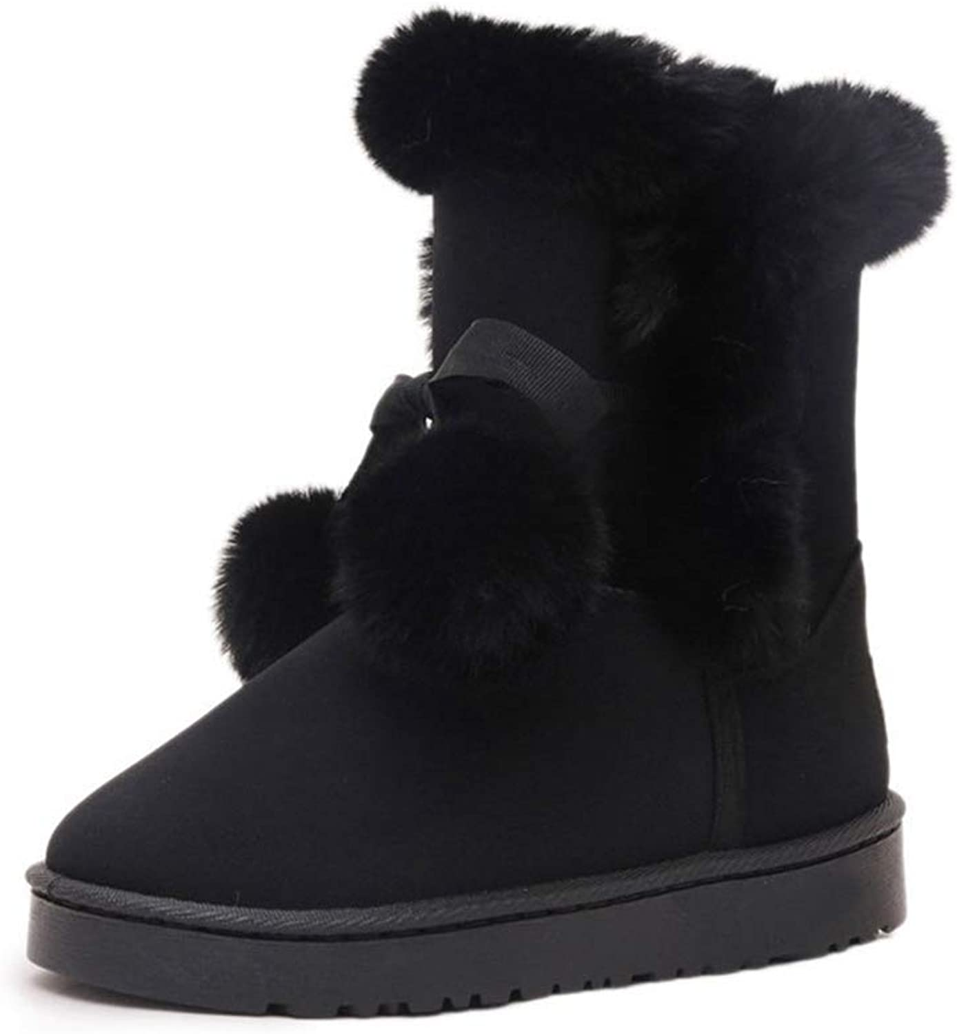 JOYBI Women Winter Fashion Round Toe Ankle Boots Fur Lined Comfortable Flat Non-Slip Girls Warm Snow Boot