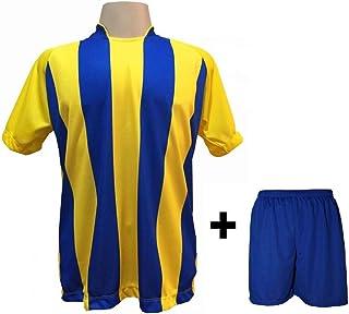 86d9e59b73 Uniforme Esportivo com 12 camisas modelo Milan Amarelo Royal + 12 calções  modelo Madrid Royal