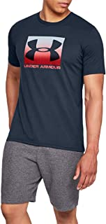 قميص بتصميم رياضي واكمام قصير للرجال بطباعة شعار العلامة التجارية داخل مربع من اندر ارمور