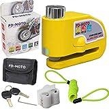 FD-MOTO 110dB Antivol Serrure de Moto Bloque Disque Alarme 7mm Jaune + 1.5m Câble pour Moto Vélo VTT Scooter