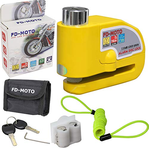 FD-MOTO 110dB Alarm Bremsscheibenschloss Diebstahlsicherung Motorradschloss 7mm Pin Sicherheitsschloss Gelb + 1,5m Erinnerungskabel und Tragetasche Für Motorrad Roller Fahrrad