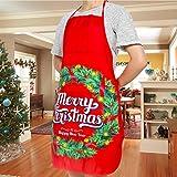 Demason 2 Stück Weihnachtsschürze Kochschürze Latzschürze mit Weihnachtsmann Küchenschürze/Grillschürze/BBQ Schürzen Weihnachtsgeschenk für Erwachsene und Kinder 58 cm x 71 cm - 5