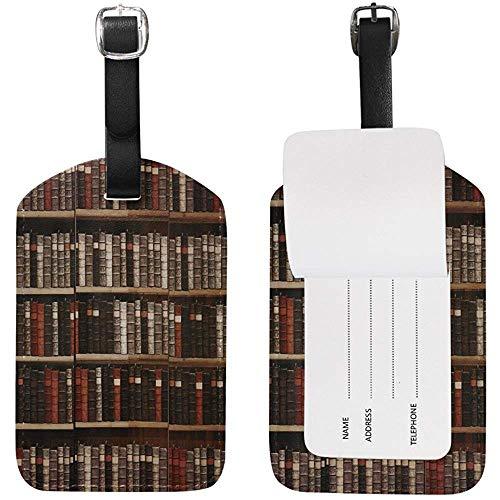 Vintage Bibliothek Bücher Bücherregal Bücherwurm Gepäckanhänger für Gepäck Koffer Tasche Travel Label Leder 2 Stück