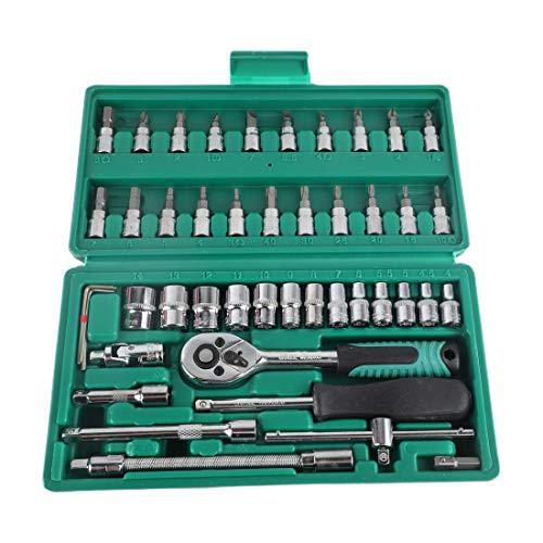 Juego de enchufes profesionales de 46 piezas 1/4 pulgadas, paquete de herramientas mixtas de reparación de llaves de tubo, combinación de herramientas de reparación de automóviles
