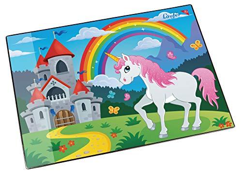 Läufer 46653 Schreibtischunterlage Einhorn, 53x40 cm, rutschfeste Schreibunterlage für Kinder, verschiedene Motive, mit transparenter Seitentasche