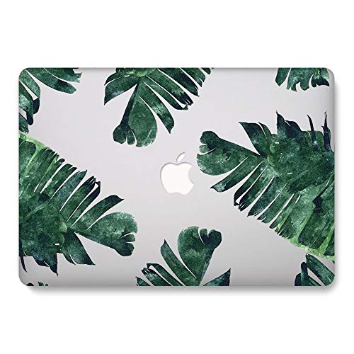 One Micron for MacBook Air 13.3 inch 2018 2019 2020 Release Case Soft Touch Plastic Hard Matte Case Floral Pattern Scratch Guard Cover for New MacBook Air 13 (A1932), Clear w/Leaves Design