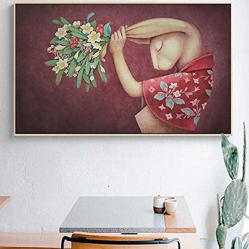 BailongXiao Nordic Poster Kaninchen Blume Tier Leinwand Wandbild Wohnzimmer Eingang Schlafzimmer Nachttisch Ölgemälde,Rahmenlose Malerei,30x50cm