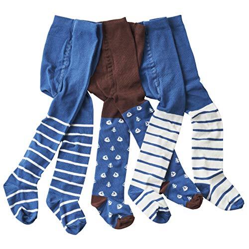 WELLYOU Baby- und Kinderstrumpfhosen Set für Jungen braun/blau Anker Größe 62-104
