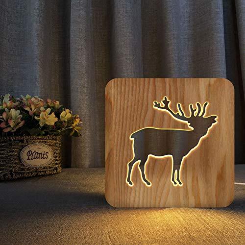Alte Hirsche 3D Holzlampe LED Nachtlicht Home Room Decoration Kreative Tischlampen für Geschenke