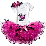 nnjxd ragazza shinny stripe bambina senza maniche/tutu manica lunga stampa/vestito da compleanno 1 anni(taglia1) 174 rosa rossa-t