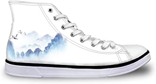 White Canvas Sneakers Women Casual High Top Walking Shoes Landscape Painting Size 9
