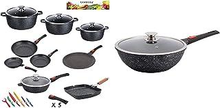 Kamberg - 0008163 - Set Lot Batterie de cuisine 24 pièces & 0008057 - Wok 30 cm - Manche Amovible - Fonte d'Aluminium - Re...