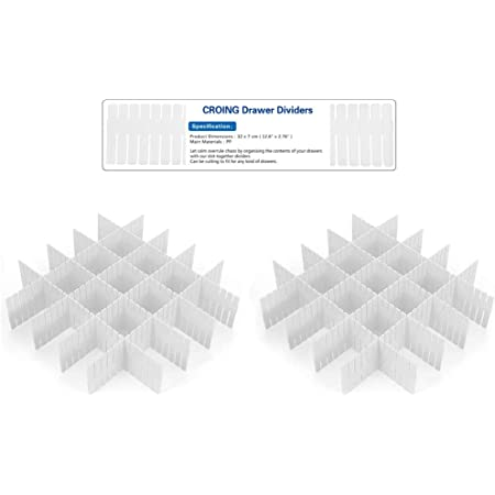 CROING ( 16 pcs Blanc DIY Organisateur de Tiroir/Grille Diviseur de tiroir/Rangement de tiroir/Separateur de Tiroir pour sous-Vêtements Chaussettes Ceinture Fournitures de Bureau