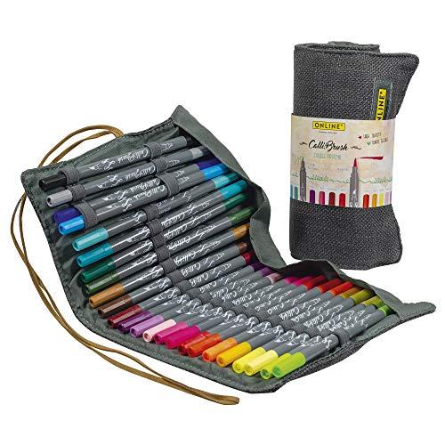 Online Calli.Brush, Handlettering Brush-Pens, 24er Set Pinsel-Stifte, Kalligraphie-Set in Roll Pouch Geschenk-Verpackung, Calligraphie-Spitze & Pinsel-Spitze für Bullet Journaling, Wasserfarben