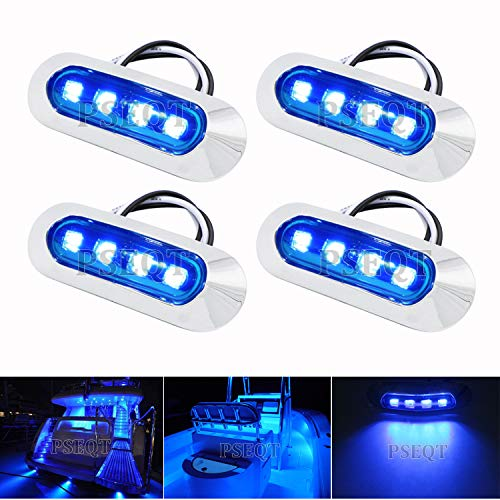 PSEQT 3.8'' Waterproof Marine Boat Lights, Utility Led Interior Lights Boat Deck Courtesy Transom Cockpit Light for Yacht Fishing Pontoon Boat Sailboat Kayak Bass Boat Vessel 12V 24V