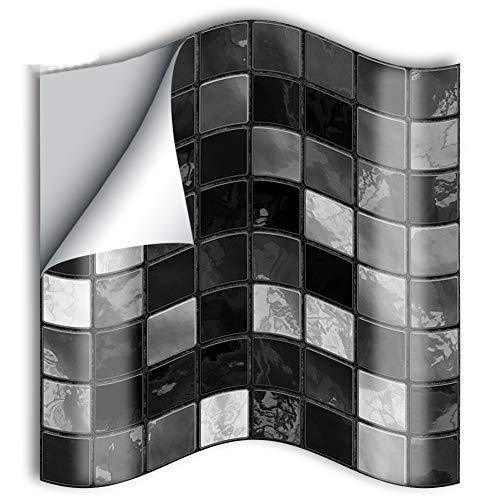 ZYCH Tile 25 Pegatinas Lisas para Pegar sobre Azulejos Cuadrados Vinilo Azulejo Adhesivo Cenefa Adhesiva 3D Pared Baldosa Revestimiento Decorativo Impermeable Cocina Baño 10/15cm Pegatina