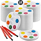 Mini Watercolor Kids Paint Set - (Bulk Pack of 24) - 5 Water Color Paints, Palette Tray and Painting Brush, for Art Party Favors, Kids Prizes, Stocking Stuffers and Paint Party Supplies by Bedwina