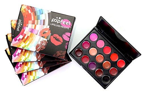15 Couleurs Palette de Maquillage Rouge à Lèvres Lip Gloss Cosmétique Set - Convient Parfaitement pour Une Utilisation Professionnelle ou à la Maison Ensemble cosmétique Bluestercool
