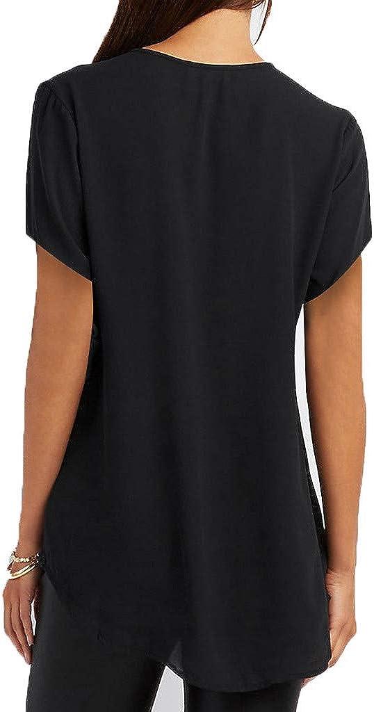 AODONG Sexy Tunic Tops for Women Women's V Neck Zipper T-Shirt Short Sleeve Plus Size Casual Tunic Tops Blouse
