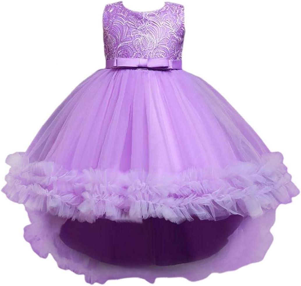 Hainice Girls Elegant Tulle Dress Sleeveless Dovetail Dress Summer Bow Belt Dress for 9-10T Kids Purple