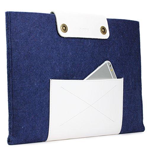 Urcover Handgefertige Designer MacBook Pro 13 Zoll (43,5 cm) Tasche Sleeve Hülle EXTRA Fach für Maus Ladekabel etc. Notebooktasche Ultrabook-Schutzhülle Laptophülle in Dunkel Blau Weiß