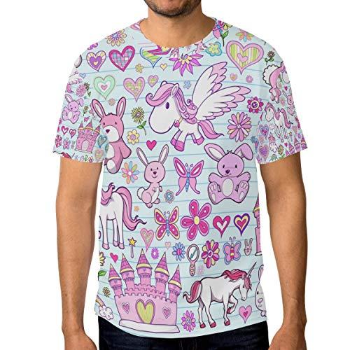 Camiseta para hombre con diseño de unicornio y conejo de flores, corazón y conejo, toalla de cuello redondo Multicolor multicolor 3XL