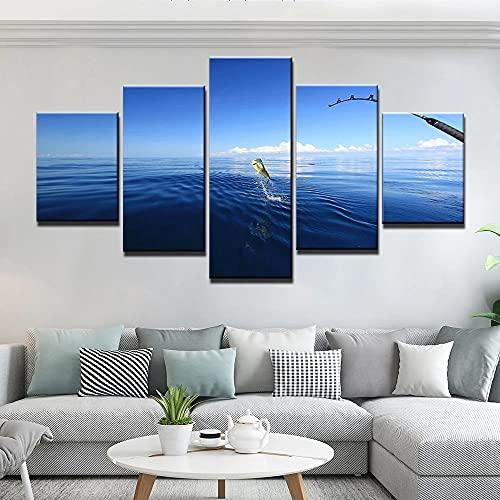 GUANGWEI Stampa Su Tela Poster HD 5 Combinazione Di Dipinti Appesi Sea and Sky Fishing Cornice Da Disegno del Paesaggio del Regalo Decorativo Di Arte Della Parete Della Famiglia
