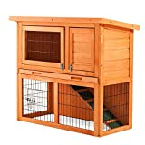 P PURLOVE 2-Tier Double Decker Rabbit/Guinea Pig Hutch House Cage with Sliding Tray, Overall Size: L 90 x D 45 x H 81 cm
