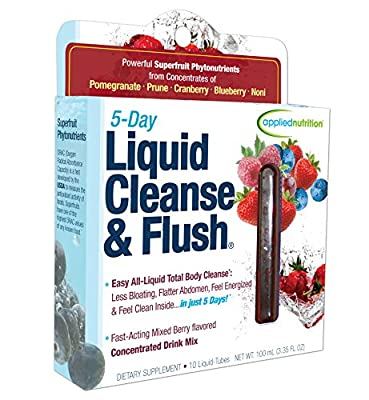 Applied Nutrition 5-Day Liquid Cleanse & Flush, Fast-Acting Mixed Berry Total Body Cleanse, 10-Twist Tubes Box ,100ml(3.35Floz) from Applied Nutrition