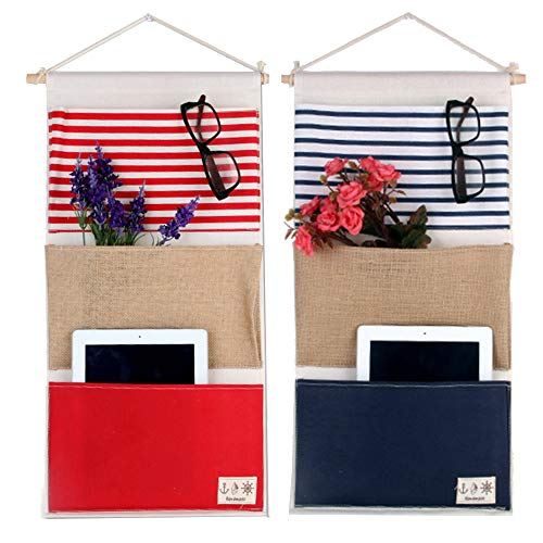 Over the Door Closet Organizer, 2 Packs Wall Hanging Storage Bags with 3 Pockets for Bedroom & Bathroom (Green + Gray)