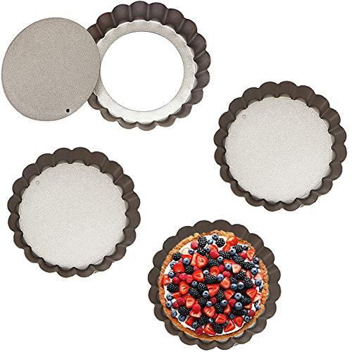 JAHEMU Tarteform mit Hebeboden Backform Non-Sticks Rund Quiche Tart Pfanne Kohlenstoffstahl Quicheformen für Kuchen, Pizza, Käsekuchen, Eierkuchen, 4 Stück (10 cm x 2 cm)
