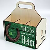 Bierträger aus Holz - SixPack – Baustelle – Richtfest – neues Heim - Baustellen-Bier (Viel Glück im neumodischen Heim)