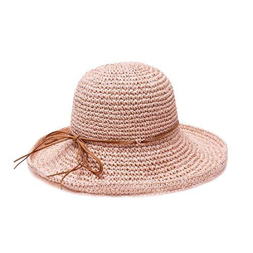 Topdo - Sombrero de paja antirayos UV, protección solar, sombrero de playa, piscina, pesca, viajes, para mujeres y hombres, 58 – 60 cm, color rosa claro, tamaño 58-60 cm