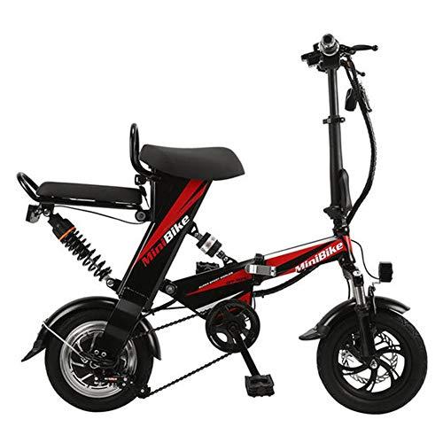 LPsweet Bicicleta Plegable Eléctrica, Velocidad Máxima De 30 Km/H con 12 Pulgadas De Ruedas Mini Portátil Y Una Batería De Litio Pequeño Plegable para Hombres Y Mujeres,Negro