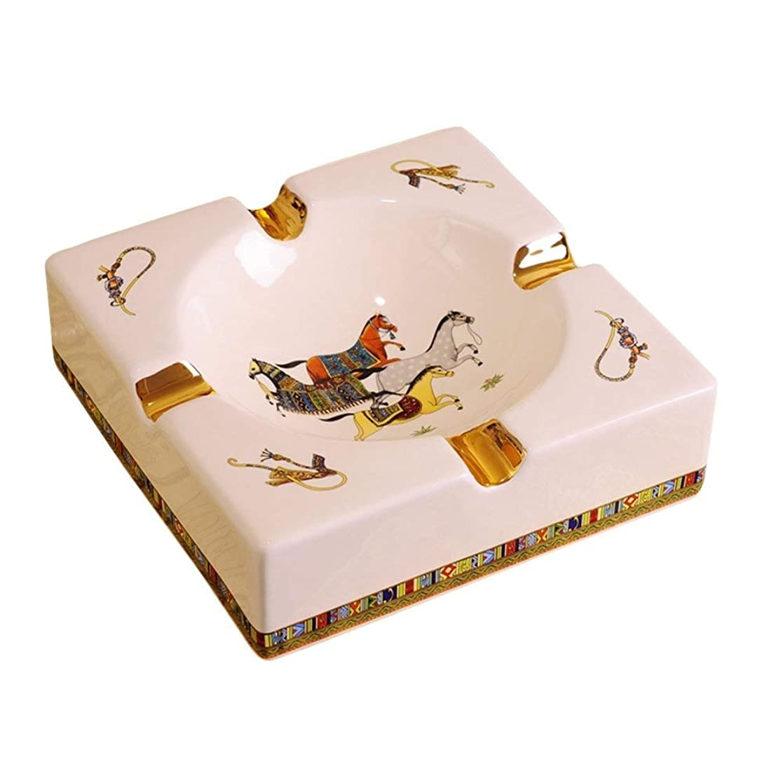 影のある返還邪魔する4溝馬のパターンデスクトップで豪華ヨーロッパスタイルの葉巻灰皿屋内屋外のエレガントなホームデコレーション用の灰皿喫煙