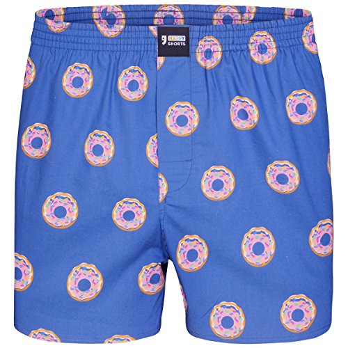 "Happy Shorts Boxershorts Herren / Web-Boxer mit Jersey-Innenslip; Modell: \""Donuts\"" (S)"