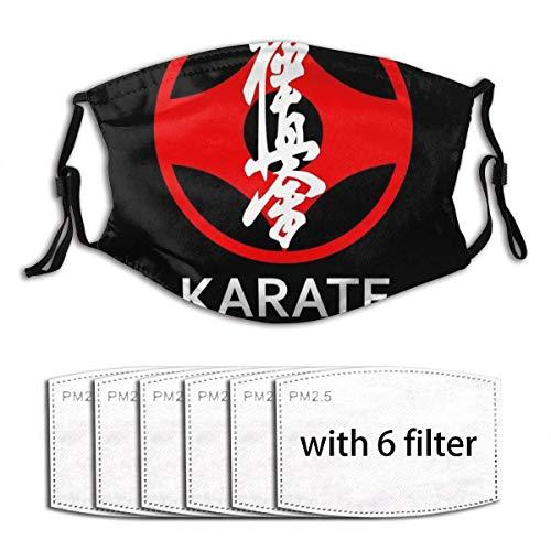 Mundschutz Mundbedeckung Gesichtsbedeckung Kyokushin Karate Symbol und Kanji White Text Unisex Einstellbarer Ohrbügel Mundschal Gesichtsschal Wiederholen Sie Dies mit 6 Filtern