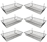 Only Garment Racks #5624B (Pack of 6) Black Wire Baskets for Grid Wall, Slat Wall or Pegboard - Merchandiser...