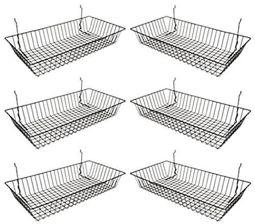 Only Garment Racks #5624B (Pack of 6) Black Wire Baskets for Grid Wall and Slat Wall - Merchandiser Baskets, Black Wire Basket 24