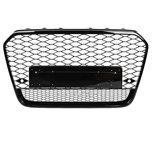 DUQYDM Bumper Grille, for A6 / S6 C7 2012 2013 2014 for RS6 style front sports hex mesh honeycomb hood barbecue gloss black
