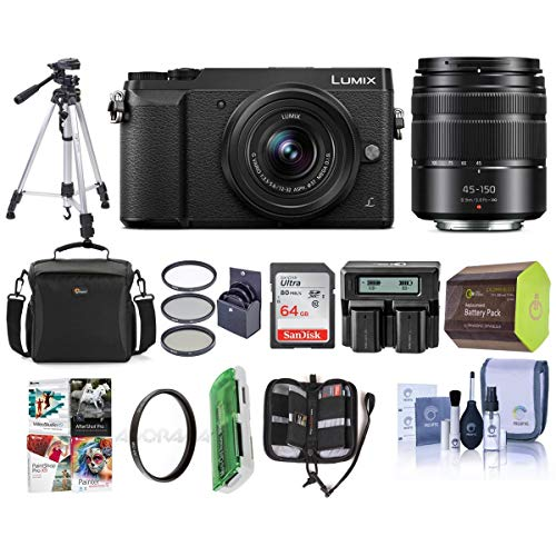 Panasonic Lumix DMC-GX85 Mirrorless Camera Black, with Lumix G Vario 12-32mm f/3.5-5.6 and 45-150mm F4.0-5.6 Lenses - Bundle with Camera Case, 32GB SDHC Card, Tripod, Software Package, and More