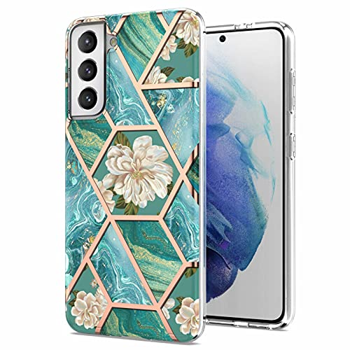 Miagon Marble Series Case for Samsung Galaxy S21 Fe,Slim Bumper for Girls Thin Stylish Soft TPU Bumper Protective Phone Cover,Blue Flower Marble