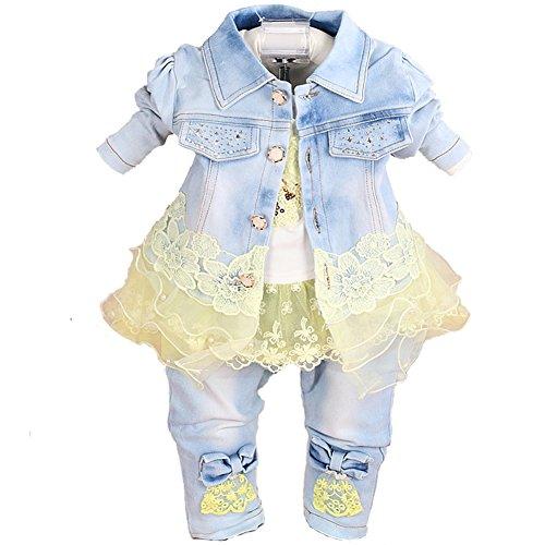 YYA Baby Mädchen Jeanskleidungs-Set, 3-teilig Gr. 6-12 Monate, gelb