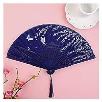 扇子 ビンテージスタイルのシルク折りたたみファン中国の和柄アートクラフトギフト家の装飾装飾品ダンスハンドファン7インチ (Color : D)