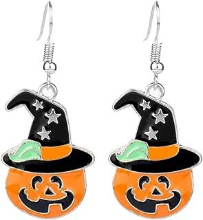 Amosfun 1 Pair Halloween Earrings Asymmetric Grimace Pumpkin Women Ear Jewelry Hook Earring Dangle Earring for Costume Party Festival